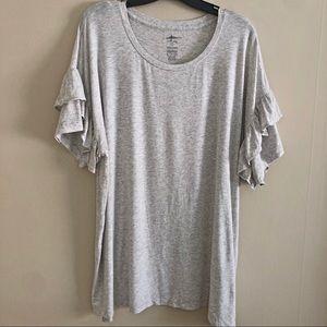 AERIE light gray ruffle sleeve top